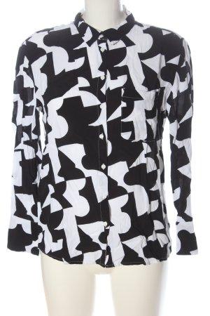 Canda Camicia a maniche lunghe nero-bianco stampa integrale stile casual
