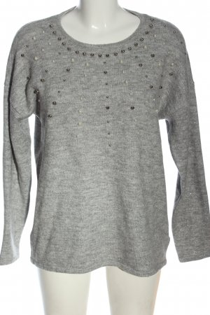 Canda Premium Kraagloze sweater lichtgrijs gestippeld casual uitstraling