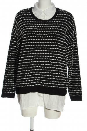 Canda Premium Gebreide trui zwart-wit gestreept patroon elegant
