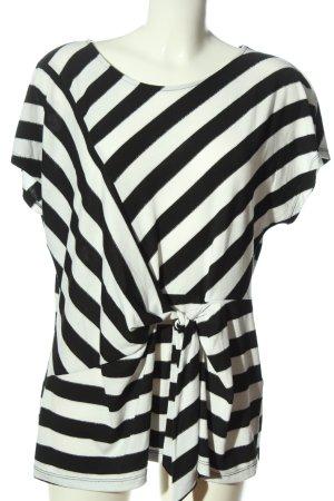 Canda Premium T-shirts en mailles tricotées blanc-noir motif rayé