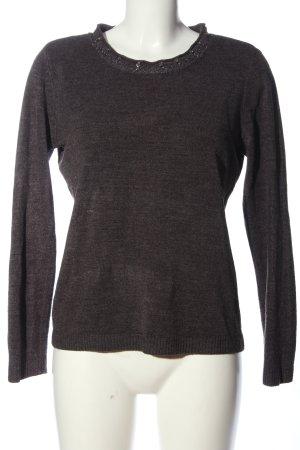Canda Crewneck Sweater light grey flecked casual look