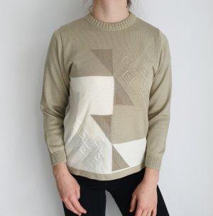 Canda S Oversize Pullover weiß beige kaki Hoodie Pulli Sweater Top Oberteil True Vintage Muster