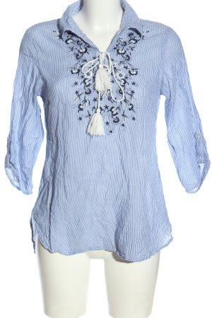 Canda Blouse à enfiler bleu-blanc motif rayé style décontracté