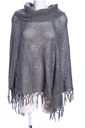 Canda Knitted Poncho light grey-silver-colored flecked casual look