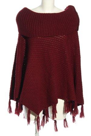 Canda Poncho en tricot rouge style d'affaires