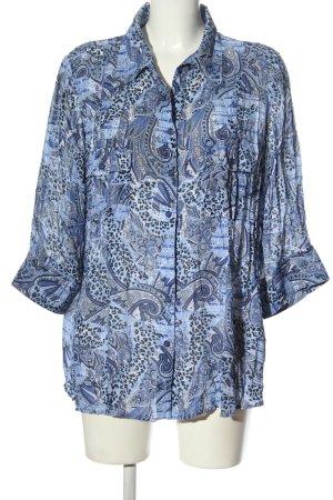 Canda Transparenz-Bluse blau abstraktes Muster Casual-Look