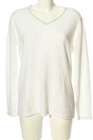 Canda V-Ausschnitt-Pullover weiß Casual-Look