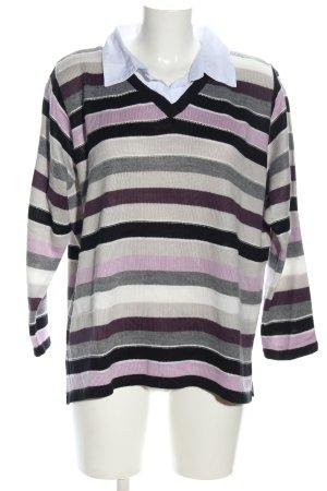 Canda V-Ausschnitt-Pullover Streifenmuster Casual-Look