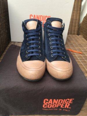 Candice Cooper Basket montante bleu foncé cuir