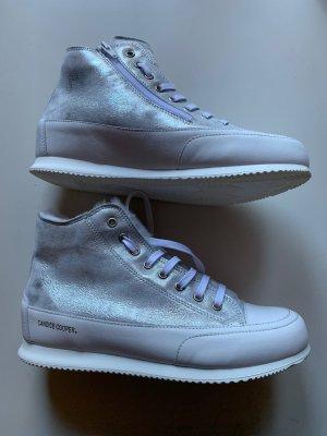 Candice Cooper Sneakers Leder Lammfell Gr 39 Weiß Silber NP 259€