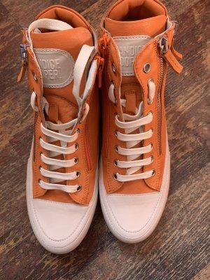 Candice Cooper Sneakers Orange Weiß Leder Gr 38 Neu NP 229€