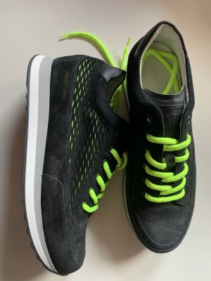 Candice Cooper Lace-Up Sneaker black-neon green leather