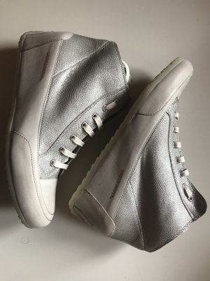 Candice Cooper Sneakers Silber Metall Creme Leder Gr. 41 Neu NP 219€