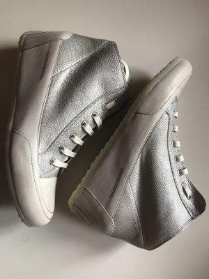 Candice Cooper Sneakers Silber Metall Creme Leder Gr. 41 Neu NP 219€
