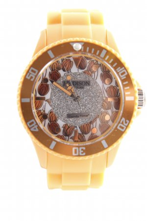 Candy Time by Madison New York Analoguhr hellorange Blumenmuster Glitzer-Optik