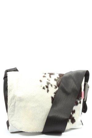 Canvasco Torba z klapą biały-czarny Abstrakcyjny wzór W stylu casual