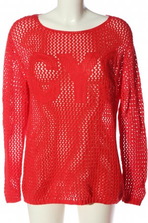 Canyon Pullover all'uncinetto rosso stile casual