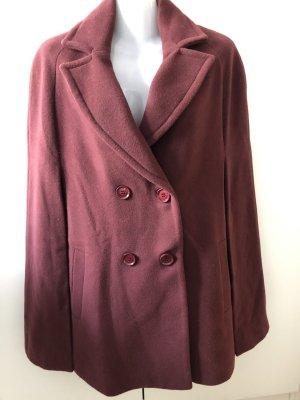 Trussardi Jeans Wełniany płaszcz głęboka czerwień-bordo Wełna