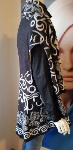 cape longweste black & white cape reversibel onesize kaschmir gemisch