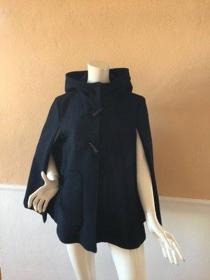 Zara Trafaluc Hooded Coat dark blue polyester
