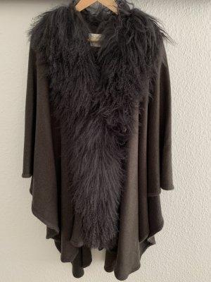 Futrzany płaszcz brązowy-taupe Futro