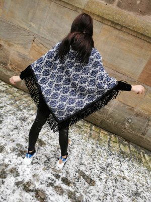 Made in Italy Poncho wit-blauw