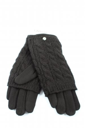 Capelli Knitted Gloves black cable stitch casual look