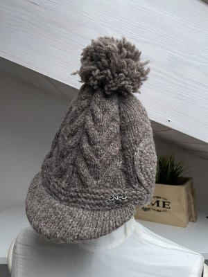 Capo Knitted Hat grey brown wool