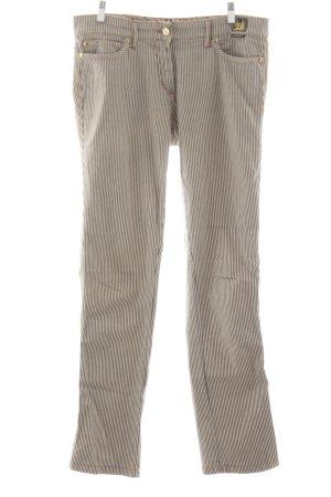 Cappopera Straight-Leg Jeans braun-wollweiß Streifenmuster Casual-Look