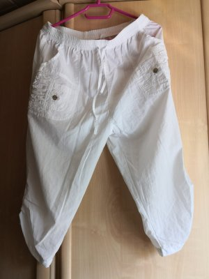 Pantalone Capri bianco-argento Cotone