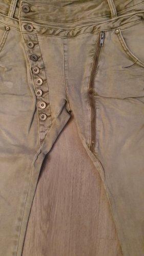 Pantalón capri verde grisáceo Algodón