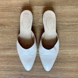 Capri Sabots white leather