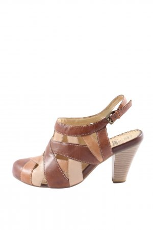 Caprice Heel Pantolettes brown-natural white casual look