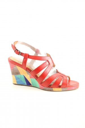 Caprice Wedges Sandaletten rot-blassgelb grafisches Muster Casual-Look