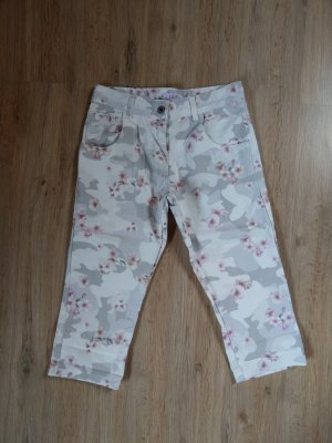 Caprihose Hose beige rosa Blumen pink