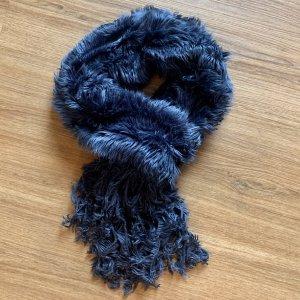 Écharpe à franges bleu acier-bleu acrylique