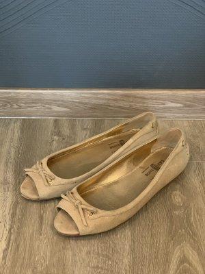 Car Shoe Ballerines à bout ouvert beige