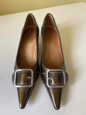 Car Shoe Pointed Toe Pumps bronze-colored leather