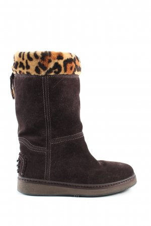 Car Shoe Snowboots braun Animalmuster Casual-Look