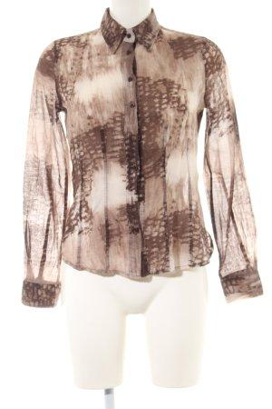 Cara Camicia blusa marrone-crema stampa integrale stile casual
