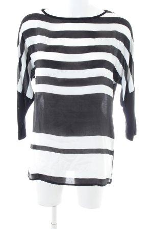 Cara Camicetta a maniche lunghe nero-bianco motivo a righe stile casual