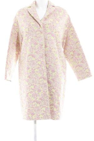 Cara Cappotto mezza stagione rosa-giallo Ornamenti ricamati