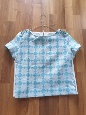 Caractère Blouse topje wit-lichtblauw