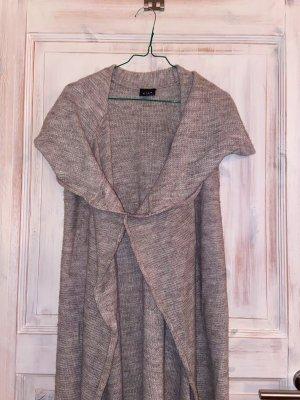 Cardigan a maniche corte marrone-grigio-beige chiaro