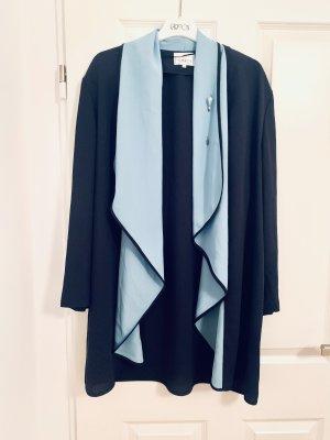 Cardigan Damenoberteil Overall Bluse - Vintage v Ronnetta m Brosche blau türkis Gr.46-48/ 3-4XL, made in