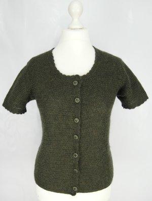 Cardigan à manches courtes vert foncé laine