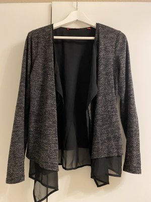Cardigan grau-meliert mit schwarz transparentem Stoff