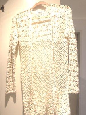 Mango Cardigan en crochet blanc-beige clair