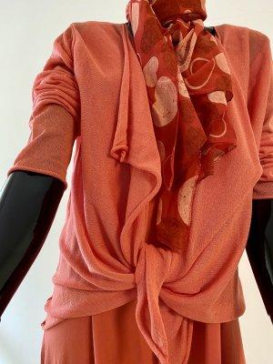 Cache-cœur en tricot saumon viscose