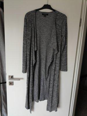 Cardigan Jacke Mantel lang Amisu M grau schwarz weiß meliert